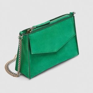 NWOT Zara Leather Green Crossbody Bag with Chains